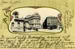 Wien - Albrechtsplatz mit Erzherzog Albrecht - und Mozart-Denkmal