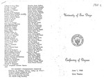 11th University of San Diego School of Law Commencement Program, 1968
