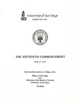 15th University of San Diego School of Law Commencement Program, 1972