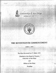 17th University of San Diego School of Law Commencement Program, 1974