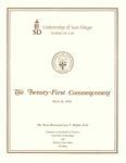 21st University of San Diego School of Law Commencement Program, 1978