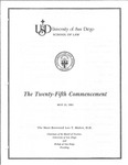 25th University of San Diego School of Law Commencement Program, 1982