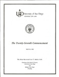 27th University of San Diego School of Law Commencement Program, 1984