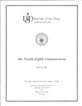 28th University of San Diego School of Law Commencement Program, 1985