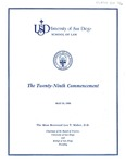 29th University of San Diego School of Law Commencement Program, 1986