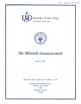 30th University of San Diego School of Law Commencement Program, 1987