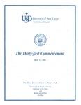 31st University of San Diego School of Law Commencement Program, 1988