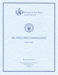 33rd University of San Diego School of Law Commencement Program, 1990
