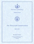 36th University of San Diego School of Law Commencement Program, 1993 by University of San Diego School of Law