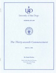 37th University of San Diego School of Law Commencement Program, 1994 by University of San Diego School of Law
