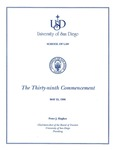39th University of San Diego School of Law Commencement Program, 1996 by University of San Diego School of Law