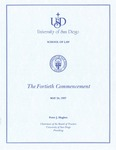 40th University of San Diego School of Law Commencement Program, 1997 by University of San Diego School of Law