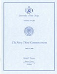 43th University of San Diego School of Law Commencement Program, 2000 by University of San Diego School of Law