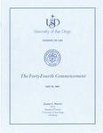 44th University of San Diego School of Law Commencement Program, 2001 by University of San Diego School of Law