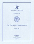 45th University of San Diego School of Law Commencement Program, 2002 by University of San Diego School of Law