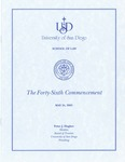 46th University of San Diego School of Law Commencement Program, 2003 by University of San Diego School of Law