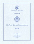 47th University of San Diego School of Law Commencement Program, 2004 by University of San Diego School of Law