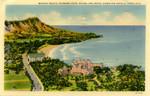 Waikiki Beach, Diamond Head, Moana and Royal Hawaiian Hotels, Honolulu