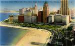 Oak Street Beach where Lake Shore Drive Meets North Michigan Avenue - Chicago, Illinois