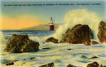"""United States – California – San Francisco – Heavy Surf and Mile Rocks Lighthouse at Entrance to """"The Golden Gate"""""""