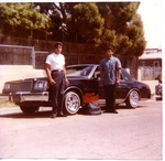 Avenues Car Club: Photograph of Tomas Madueno and Richard Zepeda with a 1978 Regal on Highland Avenue in East San Diego