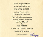 Brown Image Car Club: Invitation to a potluck dinner hosted by the club (inside)