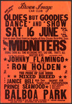 "Brown Image Car Club: Poster advertising a dance and show (""Oldies But Goodies"") at Balboa Park featuring Thee Midniters"
