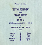 "Chicano Brothers Car Club: Invitation (inside) to a dance (""Getting Together"") hosted by the Chicano Brothers Car Club"