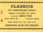 Classics Car Club: Ticket to Classics 7th Anniversary Dance in Swiss Park, Chula Vista