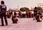 """Korner Car Club: Photograph of the annual """"hop"""" at the county administration building in downtown San Diego, an event hosted by the Korner Car Club with a cash award given to the winner"""