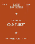 """Latin Lowriders Car Club: Invitation (inside) to a dance (""""Cold Turkey"""") hosted by the Latin Lowriders"""