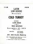 "Latin Lowriders Car Club: Invitation (cover) to a dance (""Cold Turkey"") hosted by the Latin Lowriders"