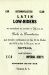 Latin Lowriders Car Club: Invitation (inside) to a dance in Tijuana hosted by the Latin Lowriders