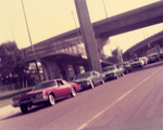 New Wave Car Club: Photograph of cars lined up in Chicano Park