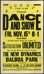 Regents Car Club: Poster advertising a dance and show at Balboa Park featuring Satisfaction Unlimited