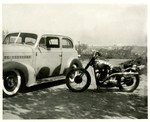 Serra Car Club: Photograph of a 1938 Chevy two-door sedan and motorcycle belonging to Mathias Ponce