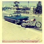 Serra Car Club: Photograph of 1959 Chevrolet El Camino and motorcycle belonging to Mathias Ponce