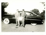 Serra Car Club: Photograph of Mathias Ponce (left) in front of his 1950 Mercury