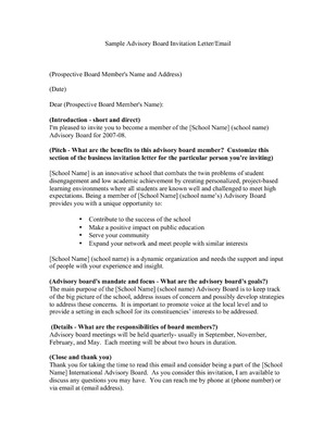 Quot Sample Advisory Board Invitation Letter Email Quot By The