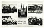 Marburg –  Schloß von Süden - Schloßpark Theater - Elisabeth Kirche - Am Lahnwehr - Universität