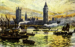 London – Houses of Parliament and Westminster Bridge from the River