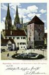 Regensburg – Moltkeplatz mit Römerturm u. bayer. Herzogsburg