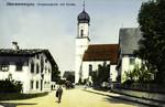 Oberammergau – Strassenpartie mit Kirche